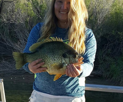 Ashley's monster redear sunfish caught during April of 2017 reportedly weighed 5.02 pounds and measured 16 1/2 inches. i