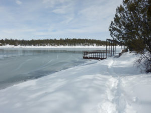 Fool Hollow Lake on Monday was frozen over.